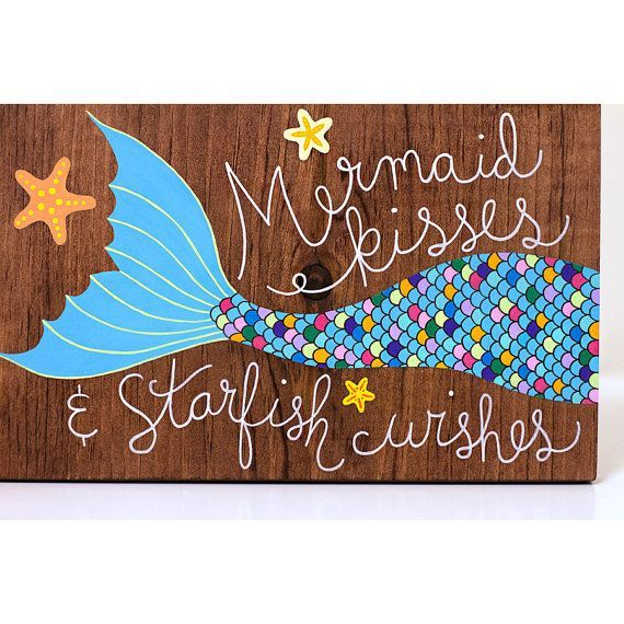 Items similar to Painted mermaid tail sign, wood wall art, mermaid hair don't care, free shipping! on Etsy