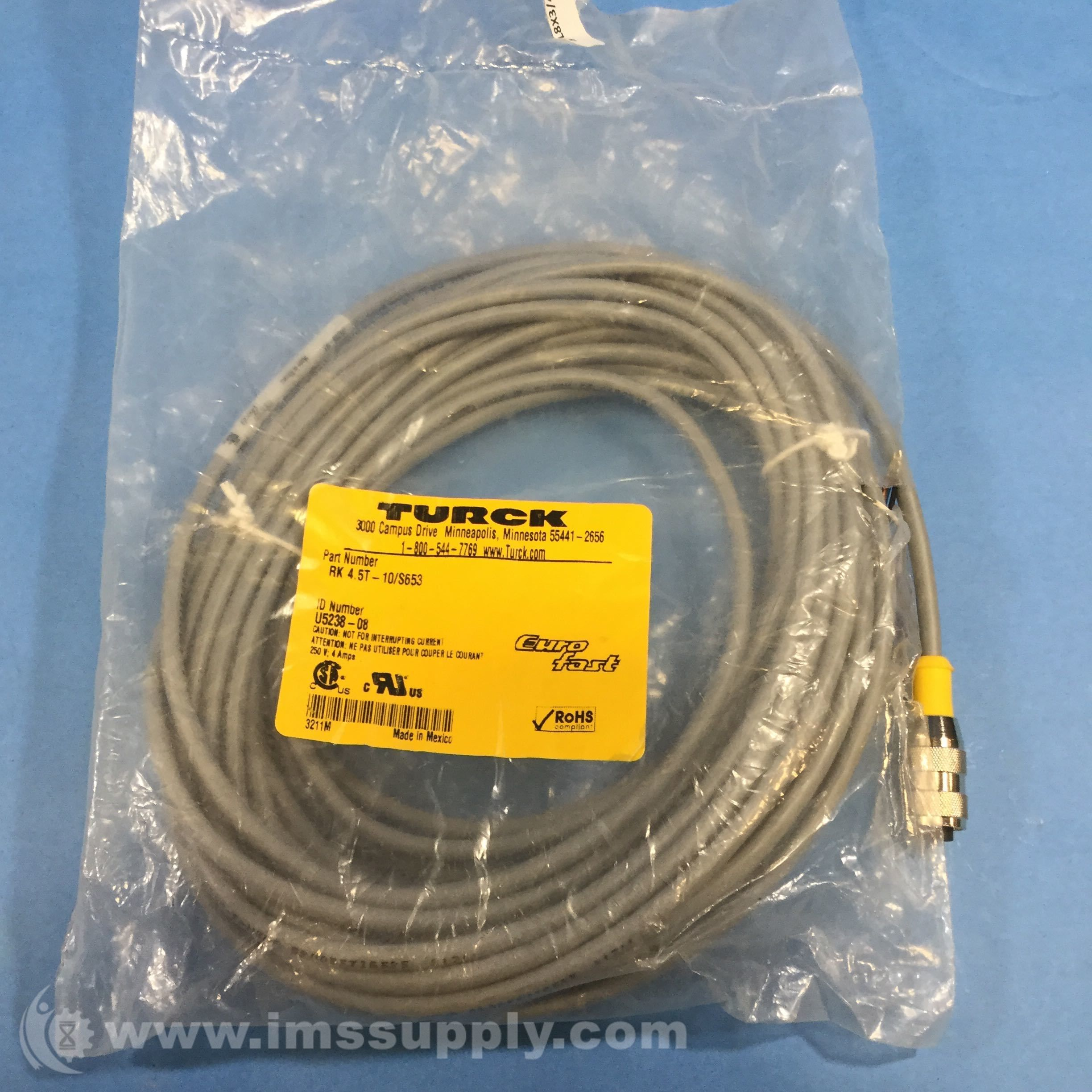 Turck Rk 45t 10 S653 M12 Eurofast Cordset Straight Female Great Wiring Harness