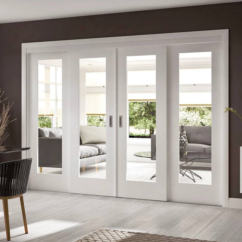 Easi-Slide OP1 White Shaker 1 Pane Sliding Door System in Four Size Widths with Clear Glass - Lifestyle Image & Easi-Slide OP1 White Shaker 1 Pane Sliding Door System in Four Size ...