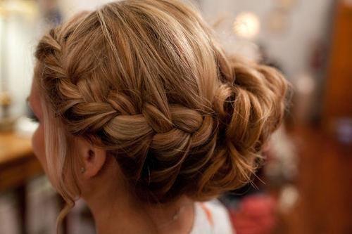 Cute braid with a bun.
