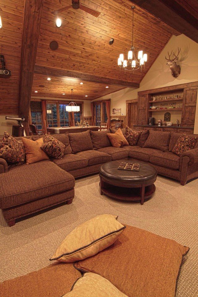 exciting log cabin cozy living rooms | open concept with big wrap-around couch in 2019 | Home ...