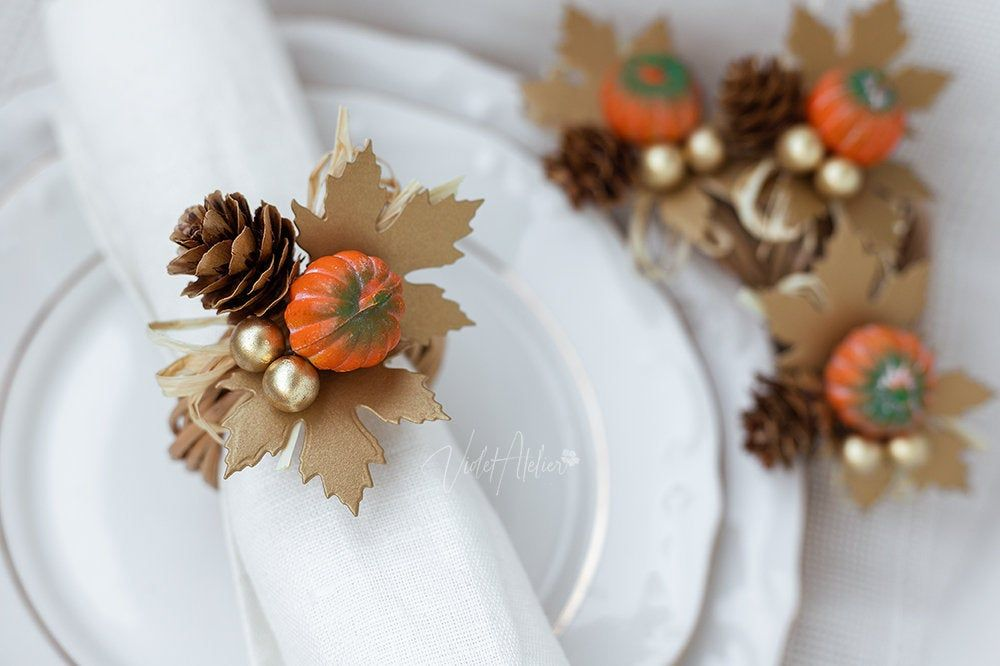 Thanksgiving Napkin Rings, Pumpkin Fall Rustic Table Décor, Thanksgiving Dinner Place Setting Decorations - 4 pcs #thanksgivingdinnertable