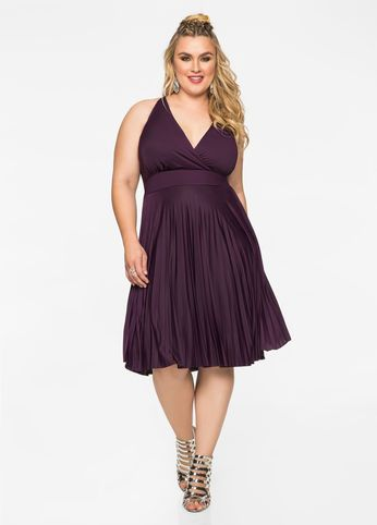Fashion Bug Plus Size Marilyn Pleated Skirt Halter Top Dress