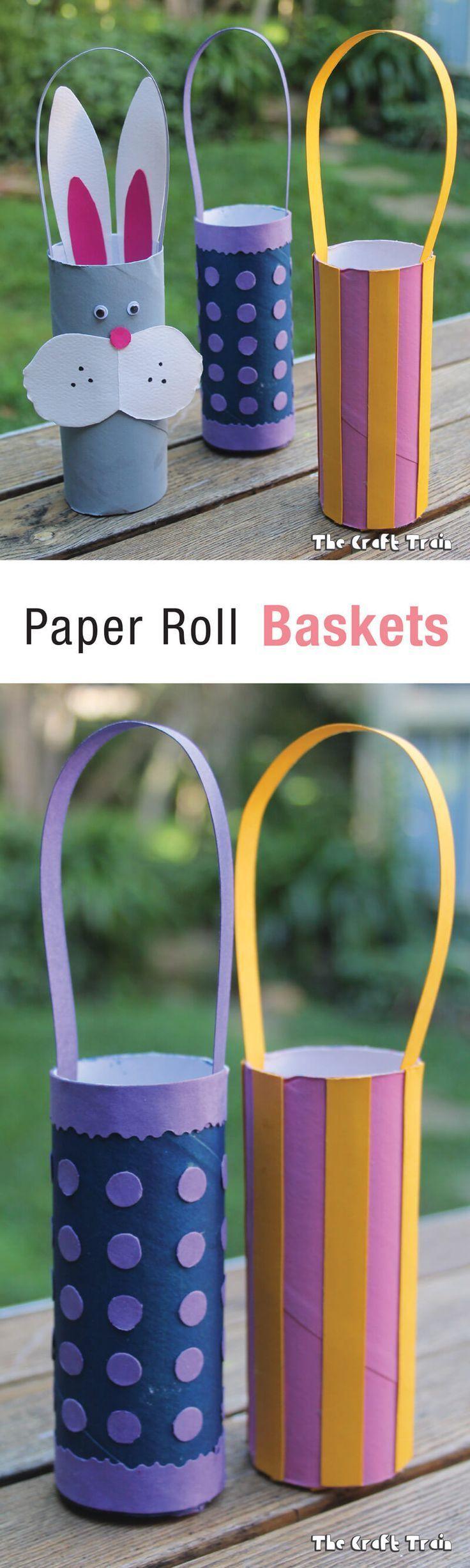 Paper roll easter baskets easy easter crafts easter
