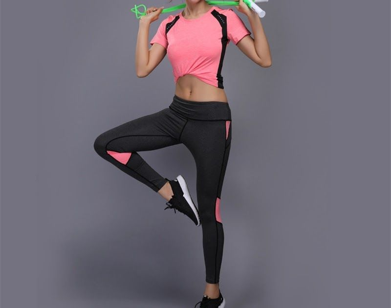 bd57fa07f4518a Big SALE 2Pcs Women Sport Suit Clothes Sports Top Shirt High Waist Yoga  Pants Running Sportswear