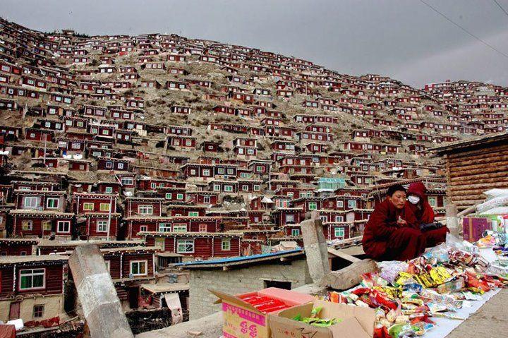 Campus of Sertar Larung Gar, the world's largest buddhist institute in Sichuan, China