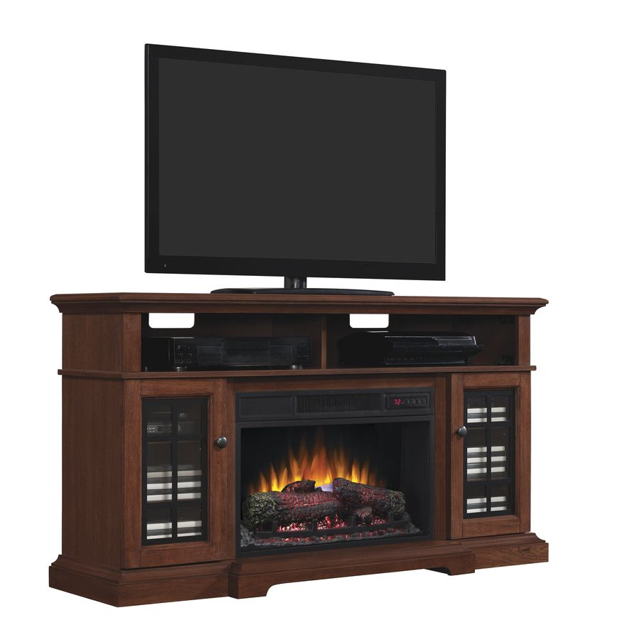 Style Selections 56 In W 46 00 Btu Cherry Wood Fan Forced Electric