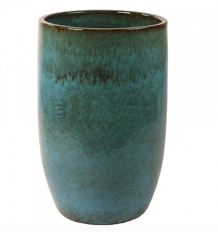 Ceramic Turquoise Round Tall Large Glossy Blue Planter Pot D41 H63 Cm Blue Planter Planter Pots Planters