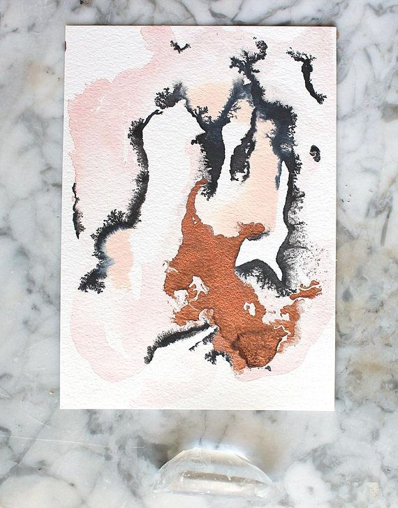 b61aee3f2b2d7 pink, gold and black small original abstract painting