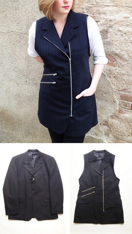 Upcycled Clothing Tutorial | DIY Mens Suit Jacket to Zipper Vest Tutorial from Plan B Anna Evers ... #men'ssuits