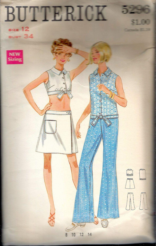 e7e2676206fdb Vintage 1960's Butterick 5296 Mod Top, Skirt & Pants Sewing Pattern Size 12  Bust 34