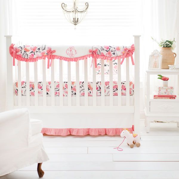 Floral Nursery Bedding Fair Floral Nursery Set  Rosewater In Coral Crib Collection  Crib Baby Design Ideas