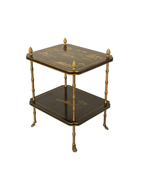 Japanned Two Tier Accent Table With Brass Faux Bamboo Legs