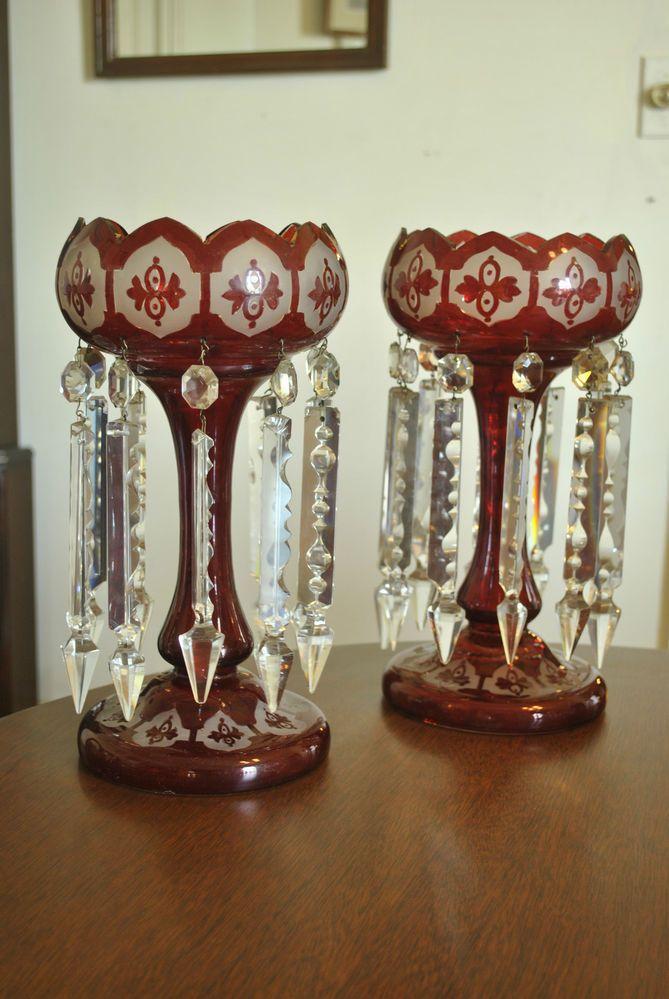 Wonderful PAIR CRANBERRY BOHEMIAN GLASS LUSTRES W PRISMS MANTLE LAMPS ANTIQUE  VICTORIAN
