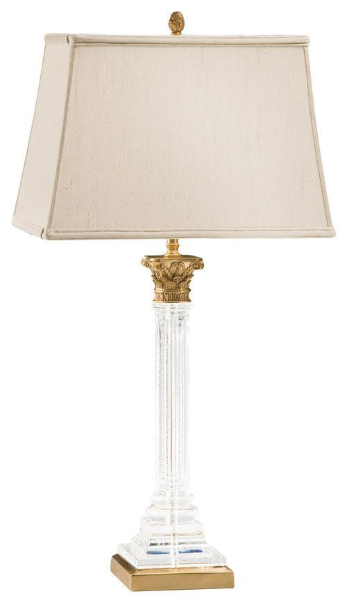 Empire Column Form Brass Crystal Table Lamp Table Lamp Lamp Crystal Table Lamps Crystal and brass table lamps