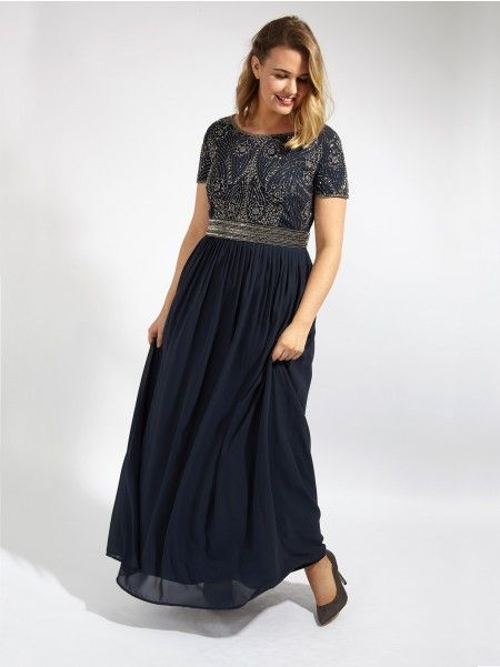 Lovedrobe Luxe Navy Sequin Embellished Maxi Dress With Pleated ...