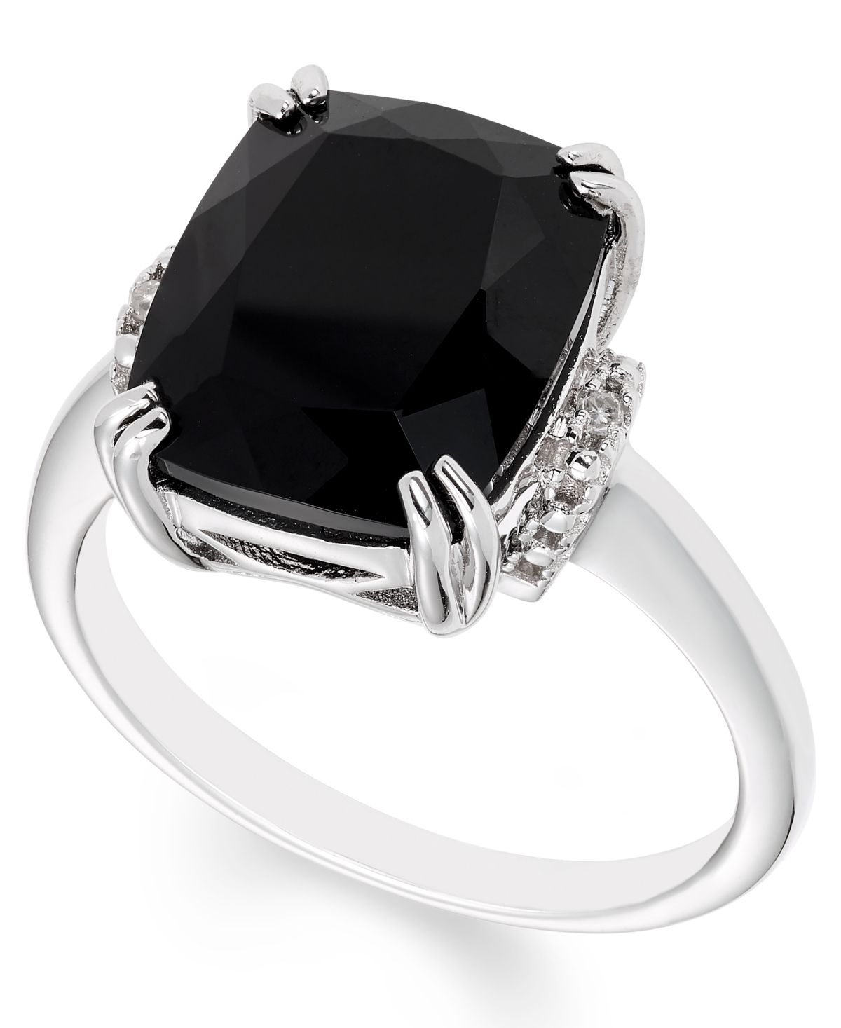 Black Onyx 12 Mm X 10 Mm Diamond Accent Ring In Sterling Silver Diamond Accent Ring Diamond Accent Jewelry