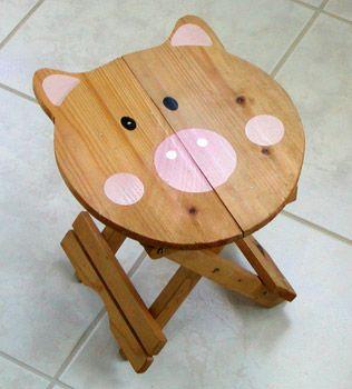 Wooden Piggy Stool