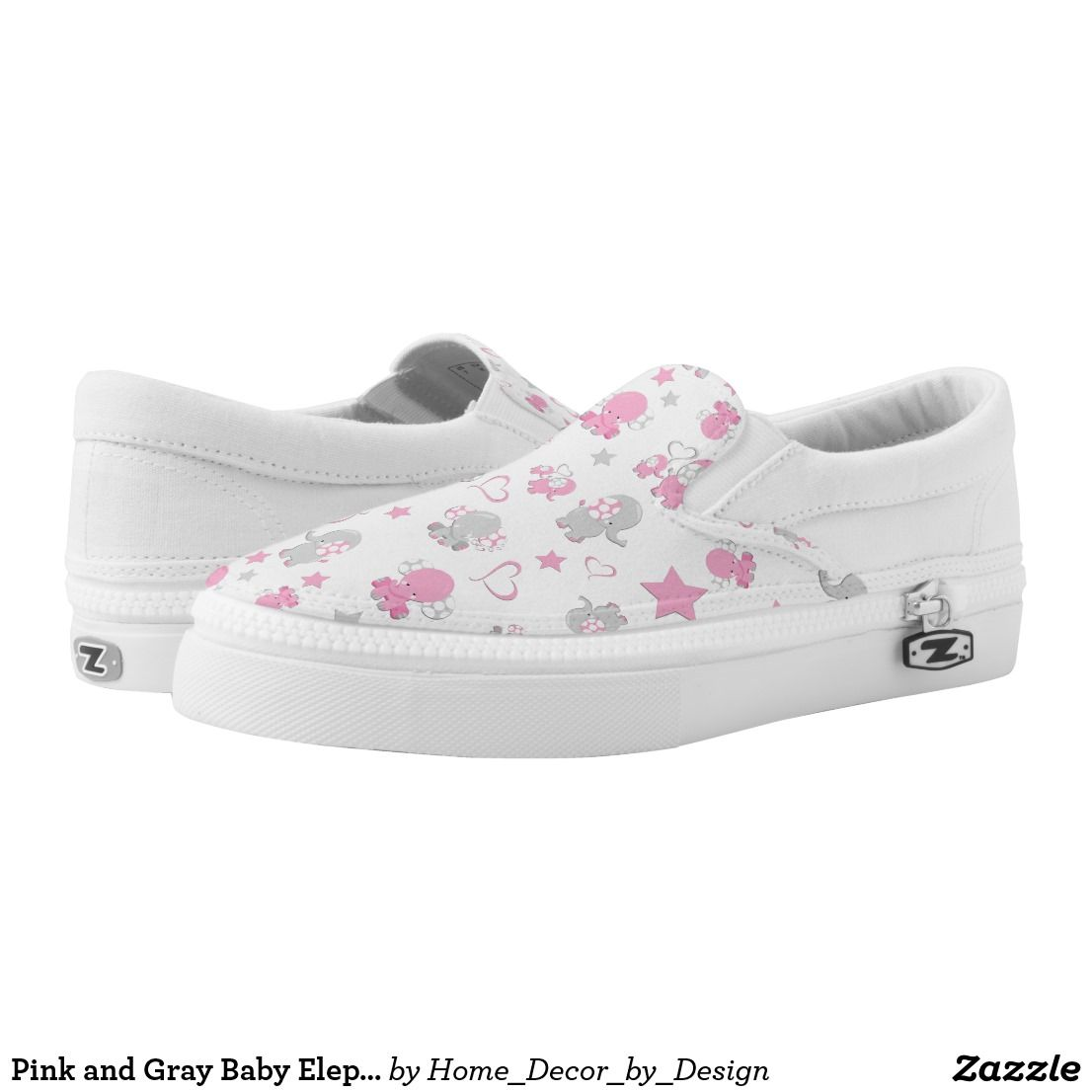 bc251c997ef94 Pink and Gray Baby Elephant Pattern Print Slip-On Sneakers