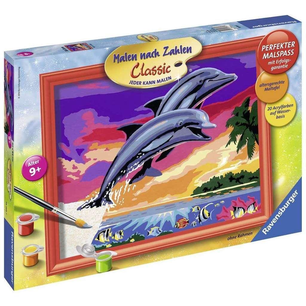Ravensburger 28389 Malen Nach Zahlen Classic Welt Der Delfine 24 X 30 Cm Ohne Rahmen Malen Nach Zahlen Spielzeug Nach Alter Altes Spielzeug