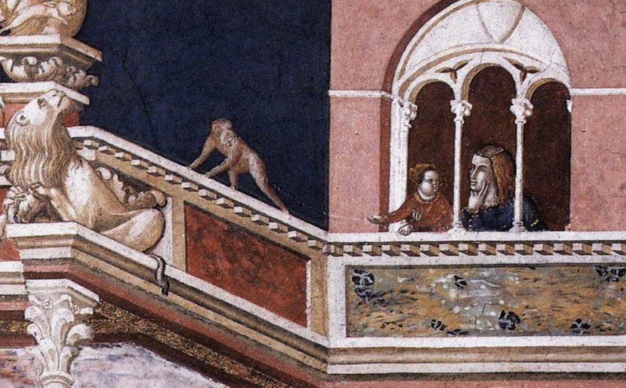 Pietro Lorenzetti. Flagellation of Christ (detail: Ape with children and mother) circa 1320, Fresco, Lower Church, San Francesco, Assisi
