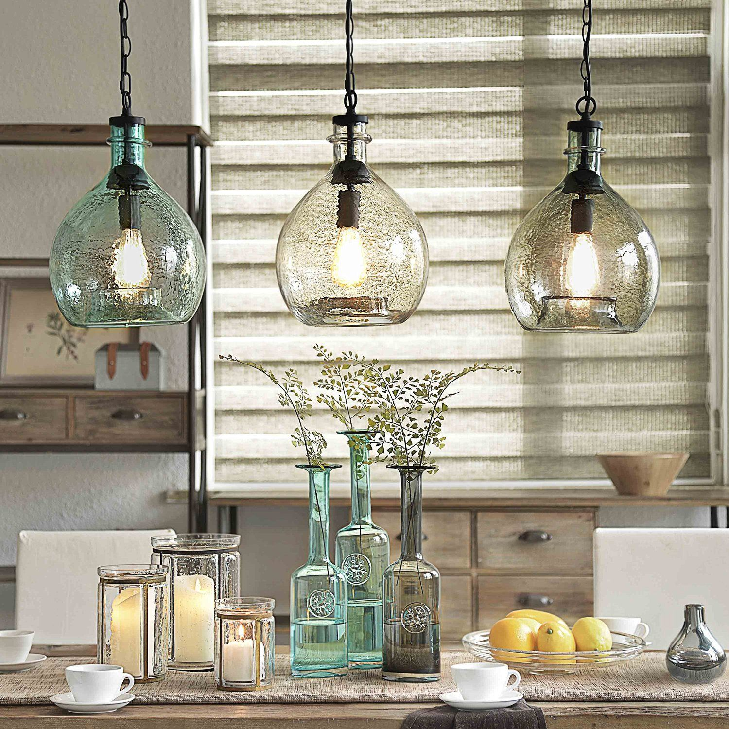 Vintage Industrial Glass Pendant Light: [Off To College] CASAMOTION Wavy Vintage Industrial Hand
