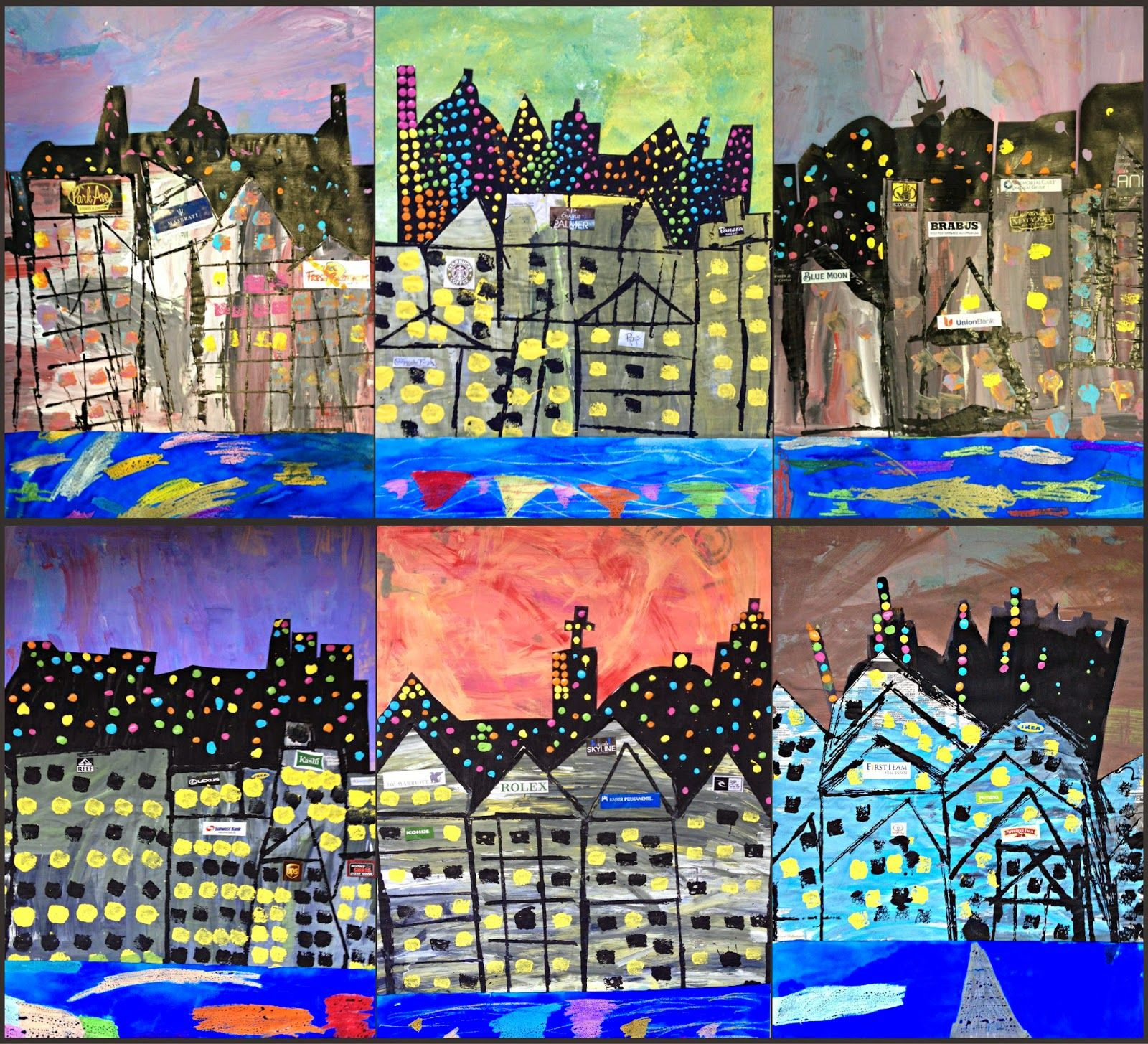 MaryMaking: Mixed Media Cityscape Collages   Homeschool Art   Pinterest