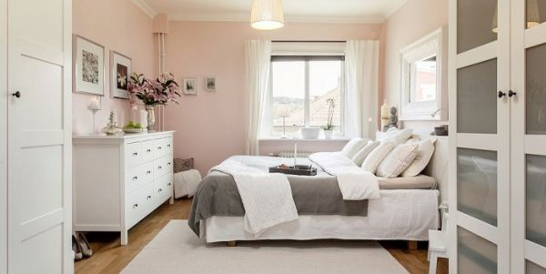 Fusion Of Dark And Light In This Cozy  · Light Pink BedroomsPink ...