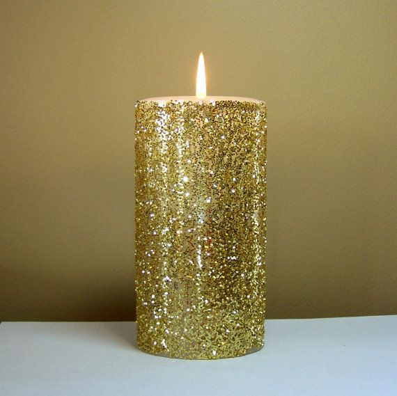 Gold Glitter Pillar Candle Decorative Candle by StillWaterCandles, $16.00