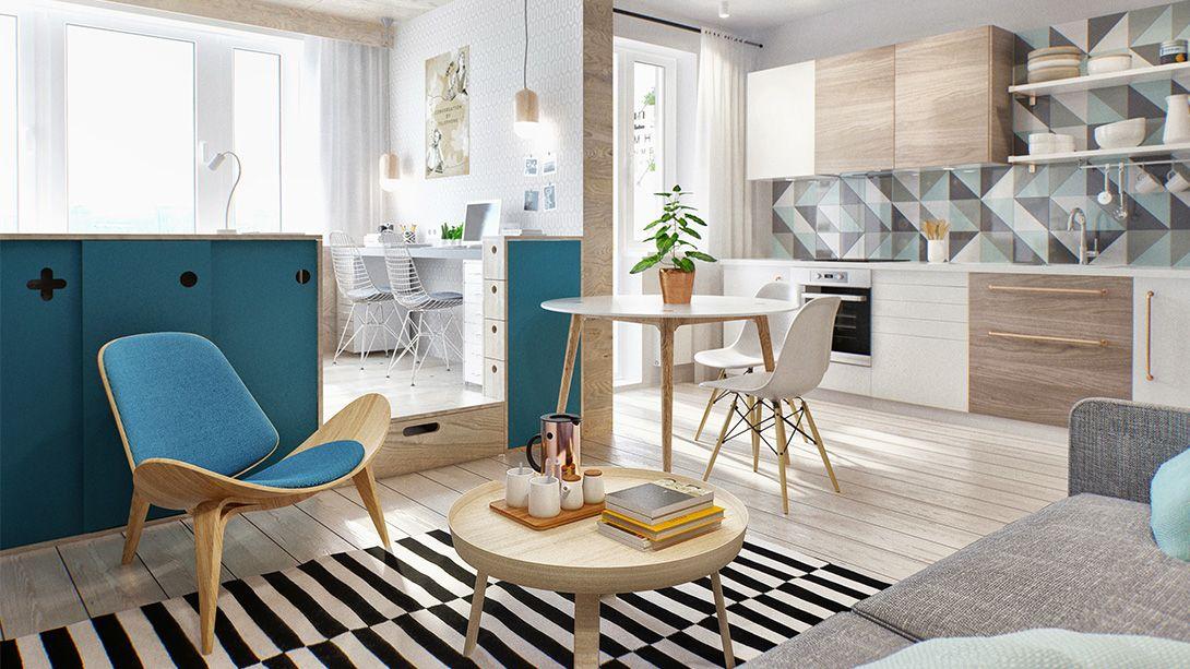 Uberlegen Kleine Wohnung Modern Und Funktionell Einrichten_zimmer Gestalten In Weiß,  Blau Und Holzoptik
