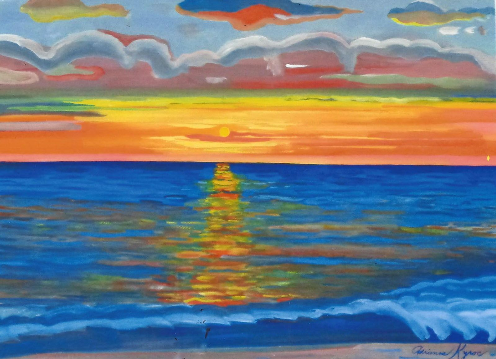 Adrienne Kyros Sanibel Island Sunset Watercolor 30 X 38