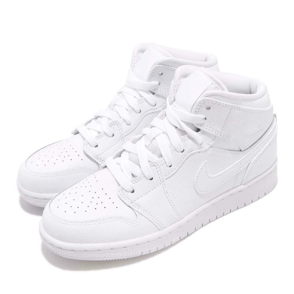 official photos c7144 59c2e eBay  Sponsored Nike Air Jordan 1 Mid BG I AJ1 Triple White Kid Youth Women Shoes  554725-129