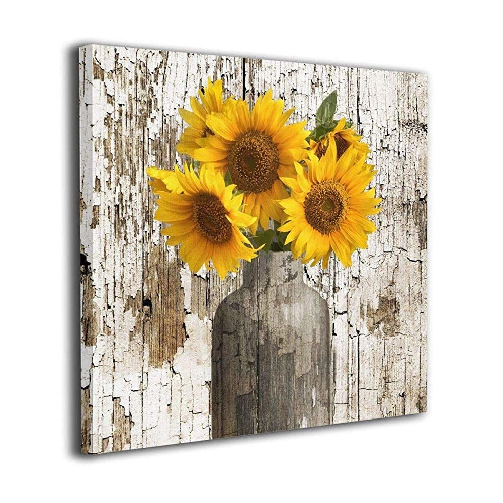 Rustic Floral Country Farmhouse Sunflower Contemporary Canvas Artwork Prints Wall Art Decor For Home Sunflower Wall Decor Farmhouse Artwork Farmhouse Wall Art