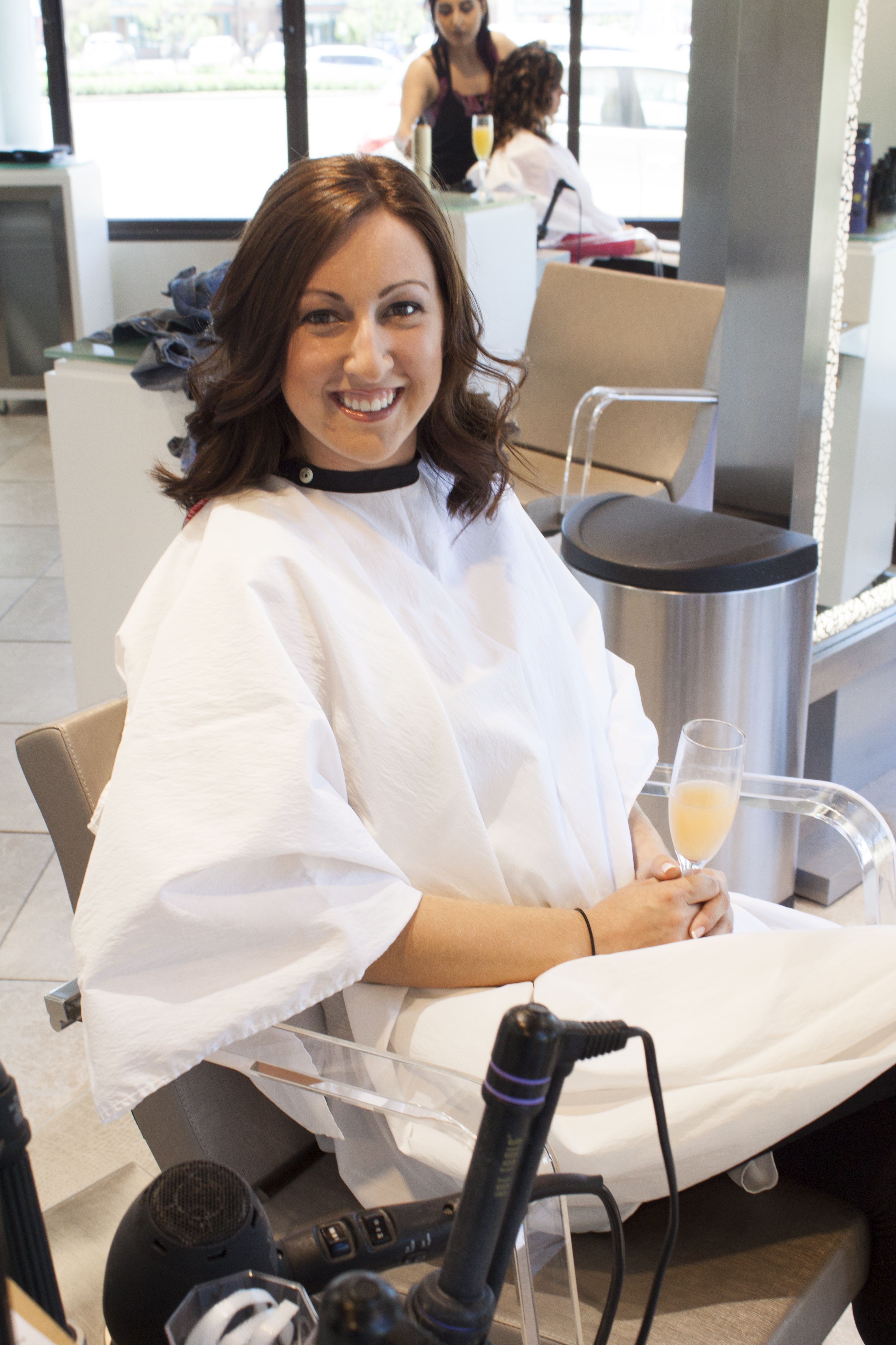 Pampering and mimosas on a warm sunny day? Yes please! #panacheerie #mimosas #beautiful #bridesmaid