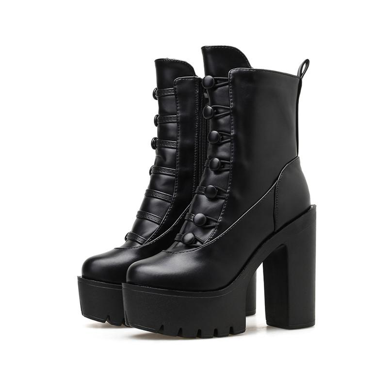 Jesienne Buty Na Koturnie Damskie Botki Na Wysokim Obcasie Z Zamkiem Na Kwadratowych Szpilkach Kup W Niskich Cenach Womens Boots Ankle Boots Super High Heels