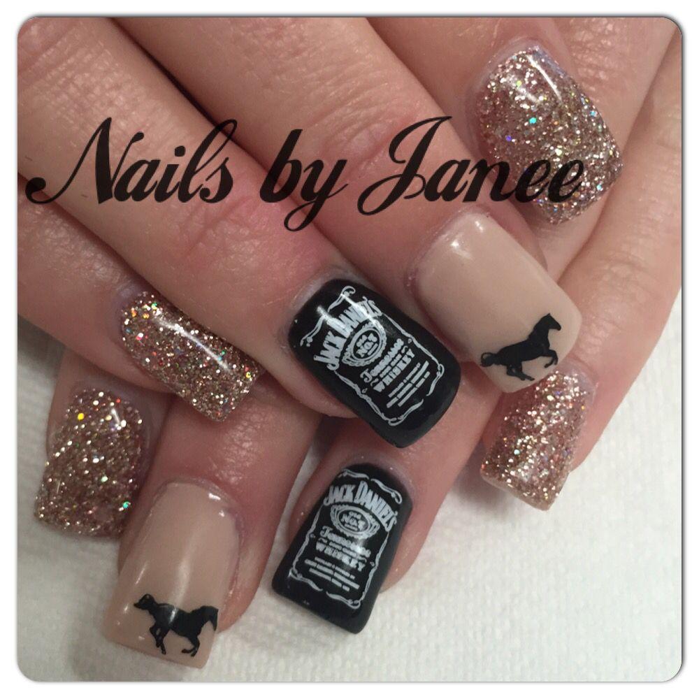 Country Girl Nail Art: Reno Rodeo Jack Daniels Nails By Janee @ A Wild Hair