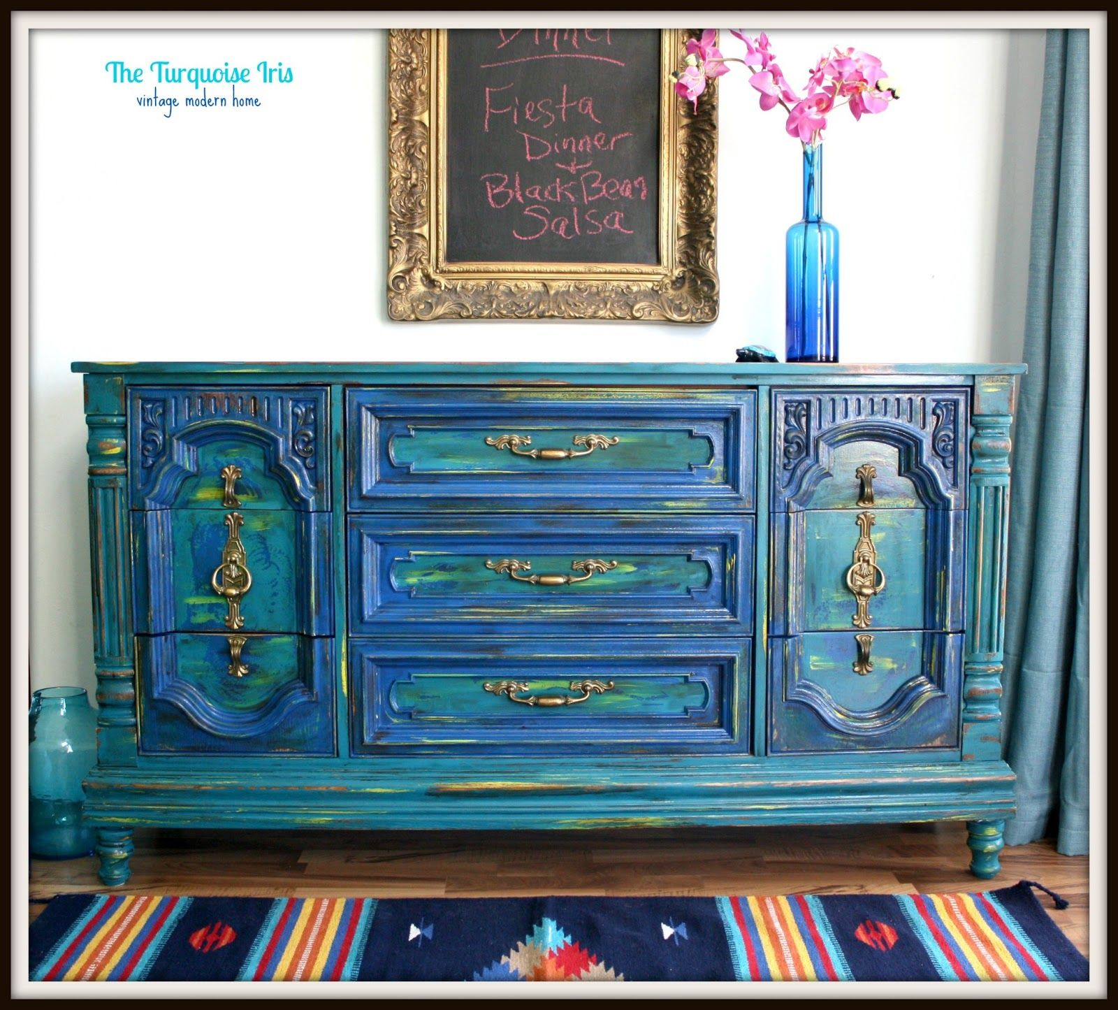The Turquoise Iris Teal and Cobalt Blue Distressed DresserBuffet