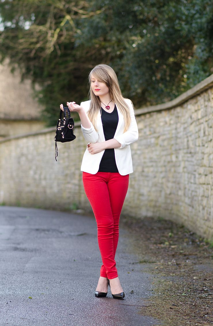 Lorna Burford Rebecca Minkoff Red Jeans Outfit The Black