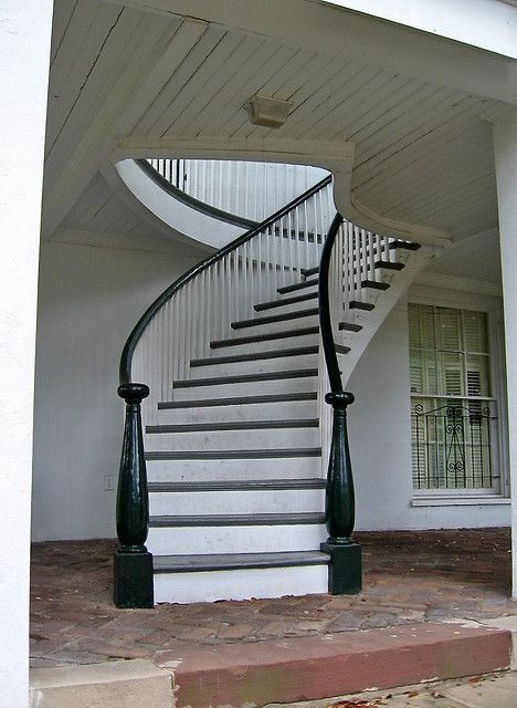 Full Staircase On The Portico Of An Antebellum Home In South Alabama