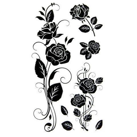New black rose waterproof temporary tattoos tatuajes temporales glitter tattoo sleeve tatoo makeup xha tatuagem tatto henna