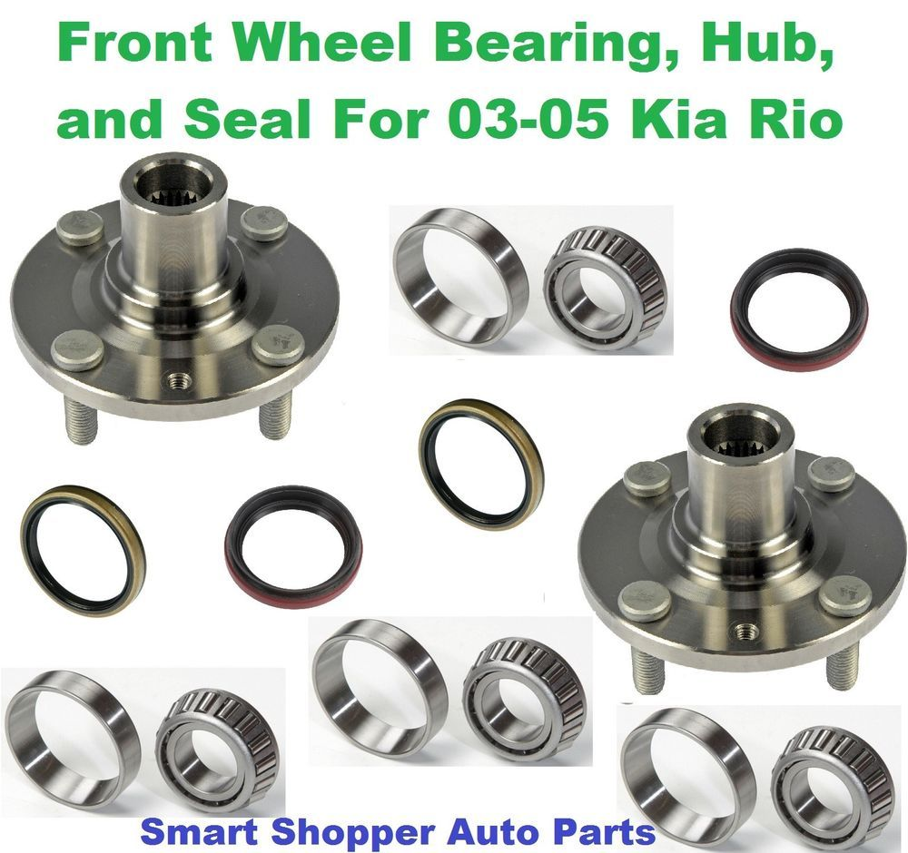 Front wheel bearing hub and seal for 2003 2005 kia rio pair left and right