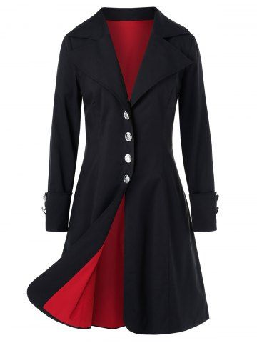 Plus Size Lapel Single Breasted Long Coat 7