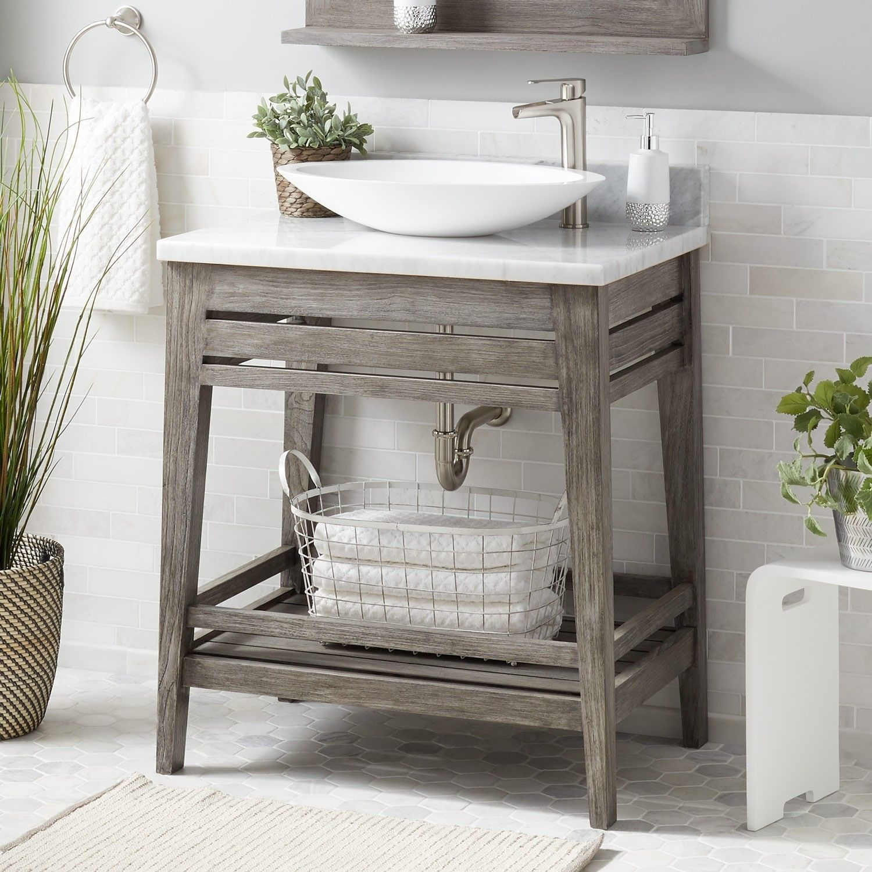 30 Aurelia Teak Vessel Sink Vanity Gray Wash Vanity Teak Vanity Vanity Sink