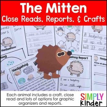 The Mitten Animal Research Book Glue crafts, Reading passages and