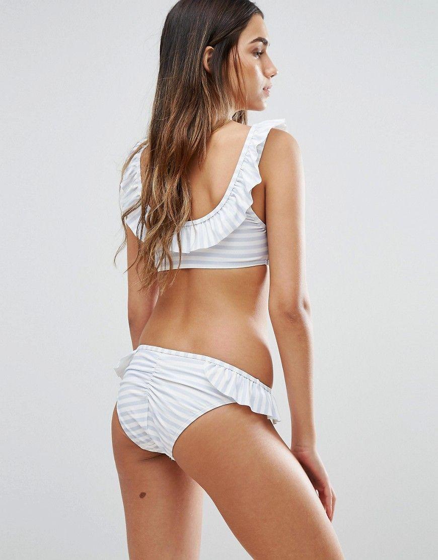 2074a2ca12f1 Vero Moda Stripe Ruffle Bikini Bottom - Multi Ruffle Bikini Bottoms