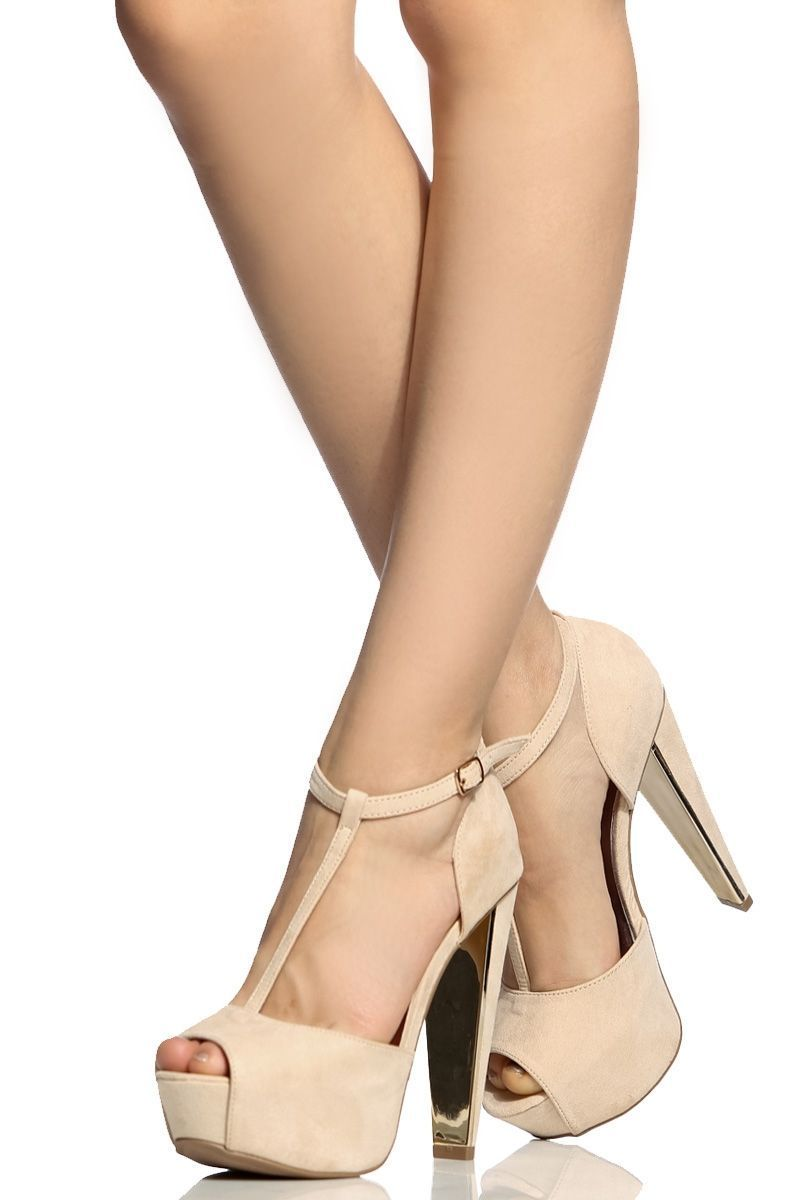 7a05bcb7b Nude Faux Suede T Strap Peep Toe Platform Heels   Cicihot Heel Shoes online  store sales Stiletto Heel Shoes