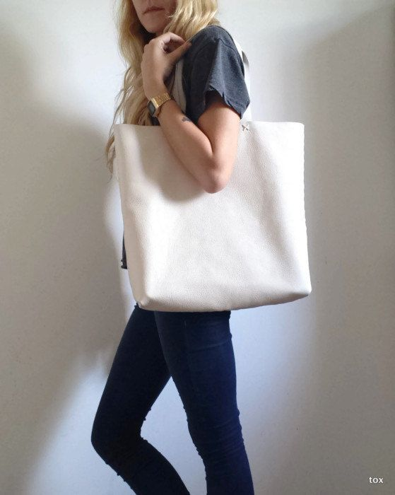 Large Leather Tote Bag-Shopping Bag Shoulder Bag by toxleather