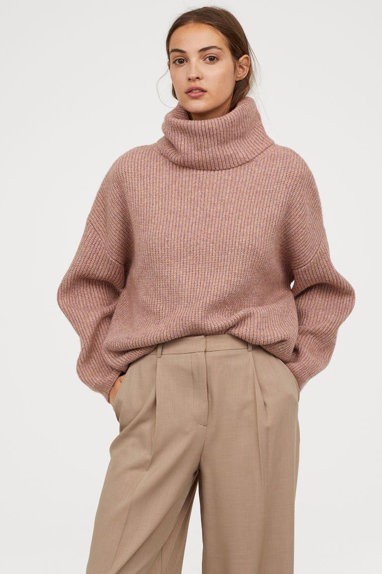 Ribgebreide coltrui - Roze gemêleerd - DAMES | H&M NL 1
