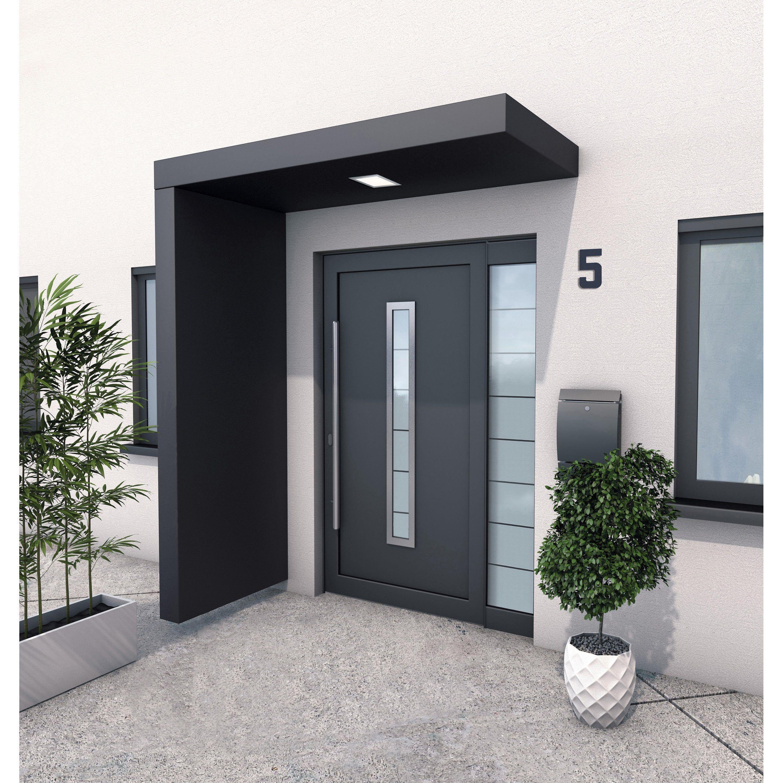 Auvent Porte D Entree Paroi Alu Gris Ant L 200 X H 14 5 X P 90 Cm Pre Monte Gutta A En 2020 Idee Entree Maison Entree Maison Moderne Entree De Maison Exterieur