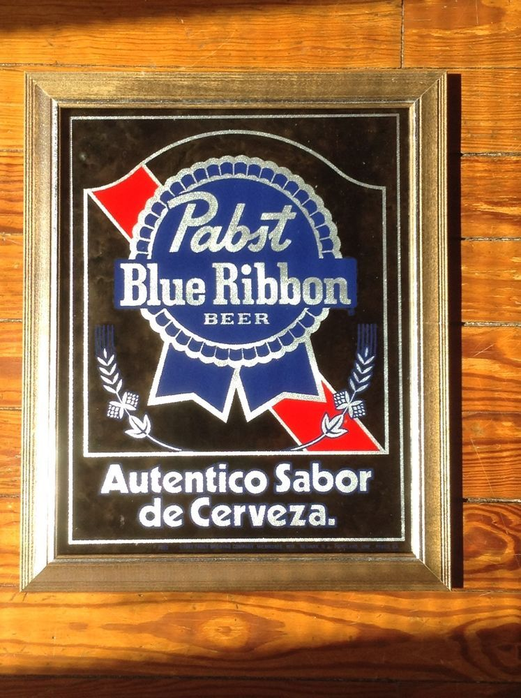 Pabst Blue Ribbon Beer Mirror Sign Spanish New Old Stock Pbr